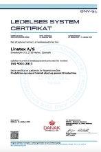 linatex ISO 9001-2015 kvalitet certifikat